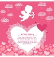 Valentines day angel with bow flyer vector image