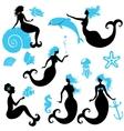 Set of Beautiful mermaid girl Silhouettes in black vector image