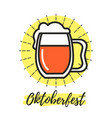 oktoberfest sign with beer glass vector image
