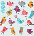 Cute cartoon birds set vector image