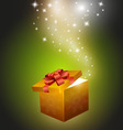 golden gift box vector image vector image