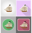 pirate flat icons 16 vector image vector image