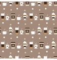 Coffee cups icons seamless pattern vector image