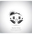 Green house logo Happy family icon eco lover vector image
