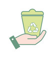hand with can recycle to environment care vector image