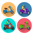 Scooter transport flat icons vector image