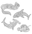set with underwater predators in zentangle style vector image