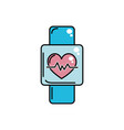 smartwatch to know the rhythm cardiac vector image