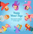 winter background with happy school kids poster vector image
