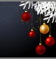 Christmas tree decorated with balls background vector image