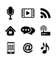 Communications and multimedia icons vector image vector image
