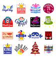 carnival emblem label logo set vector image
