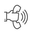 hand with phone thin line icon vector image