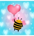 Happy Valentines Day card with bee vector image