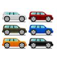 Offroad cartoon car with big wheels six colors vector image