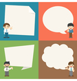Set of businessman with speech bubbles character vector image
