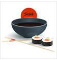 Sushi with Soy Sauce Japan Food Menu Restaurant vector image