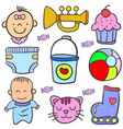 baby element doodles vector image