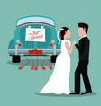 just married couple with car vintage vector image