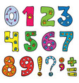 numbers and signs funny set vector image