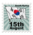 post stamp of national day of South Korea vector image