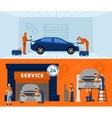 Auto mechanic 2 flat banners set vector image