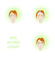 face care - using anti-wrinkle cream vector image