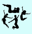 gymnastic teenager girl action sport silhouette vector image