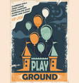 outdoor playground poster template with castle and vector image