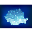 Romania country map polygonal with spot lights vector image