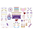 doodle set of design elements about love vector image