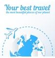 Paper plane flies around the world vector image vector image