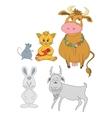 Set cartoon animals vector image