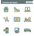 Icons line set premium quality of shopping symbol vector image