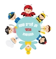kids wearing different costumes happy purim and vector image
