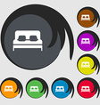 Sofa Icon sign Symbols on eight colored buttons vector image