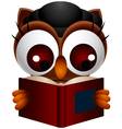 cute owl reading book vector image vector image
