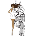 Brazilian girl sketch vector image