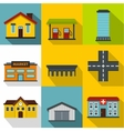 Public building icons set flat style vector image