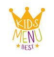 best kids food cafe special menu for children vector image vector image