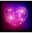 Sparkle bright pink heart vector image