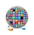 Abstract Sphere with Application Icons Image vector image