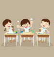 angry boy and friends in classroom vector image