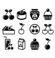 Cherry fruit cake jam icons set vector image