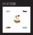 flat icon ship set of tanker boat sailboat and vector image