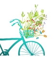 Retro Summer Bike with Bunch of Flowers Card vector image