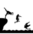 silhouettes of men jumping into water vector image