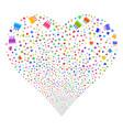 birthday cake fireworks heart vector image
