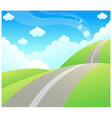 Road over Green mountain and sky vector image
