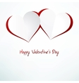 Two Red Heart Paper Sticker With Shadow  EPS10 vector image